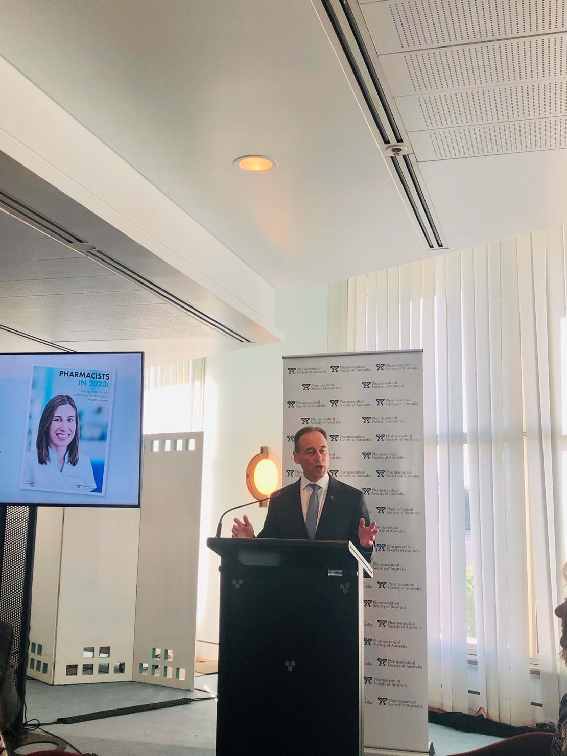 The Hon. Greg Hunt MP at pharmacist breakfast.